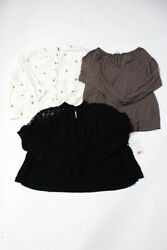 Michael Stars Womens Long Sleeve Scoop Neck Tee Brown White Size SmallXS Lot 3