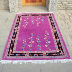 Yilong 4and039x6and039 Purple Handknotted Chinese Art Deco Silk Carpet Exclusive Area Rug