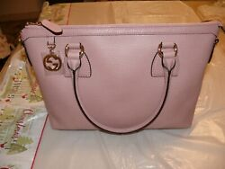 Gg Charm Soft Pink Leather Medium Convertible Straight Bag With Strap