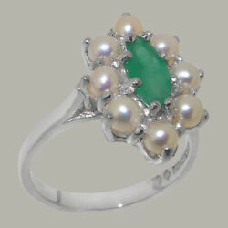 Solid 18ct White Gold Natural Emerald And Full Pearl Womens Cluster Ring