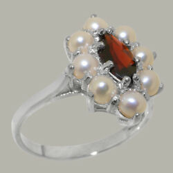 Solid 18ct White Gold Natural Garnet And Full Pearl Womens Cluster Ring