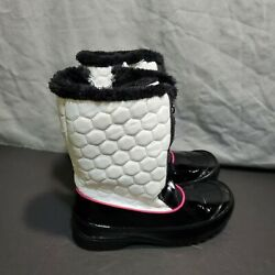 NEW Totes Women#x27;s Size 5 Black White Pink Snow Boots Fur Stylish $14.80