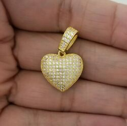 14K Yellow Gold Women Round Crystals Love Heart Necklace Charm Pendant $19.00
