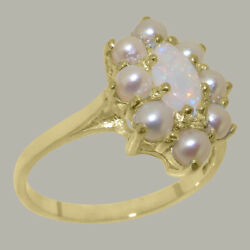 Solid 18ct Yellow Gold Natural Opal And Full Pearl Womens Cluster Ring
