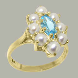 Solid 18ct Yellow Gold Natural Blue Topaz And Full Pearl Womens Cluster Ring