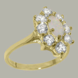 Solid 18ct Yellow Gold Natural Opal And Cubic Zirconia Womens Cluster Ring
