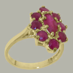 Solid 18ct Yellow Gold Natural Ruby Womens Cluster Ring - Sizes J To Z