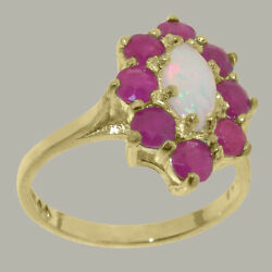 Solid 18ct Yellow Gold Natural Opal And Ruby Womens Cluster Ring - Sizes J To Z