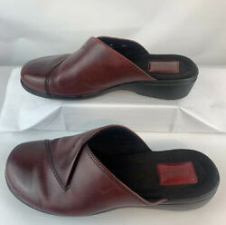 Clarks Artisan Collection 8W Womens Ruthie May Clog Burgundy Leather Shoes Mule