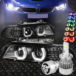 Black 3d Rgb Color Halo Headlight+white Led H7 Hid W/fan For 96-03 E39 5-series