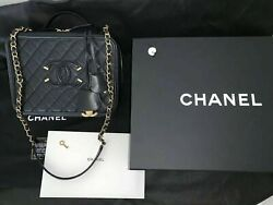 Chanel Filigree Large Black Calfskin Caviar Grained Vanity Case Bag Gold Purse