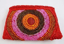 Clutch Bag Beaded Circle Design Bright Colors Small Purse Zip Top 5.5 By 4 Inch $16.19