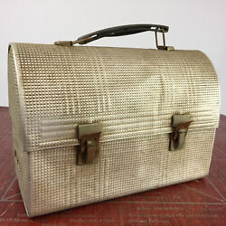 Vintage Antique Metal Aluminum Work Lunch Box Lunchbox Tin Union Checkered Labor