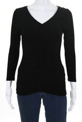 Michael Stars Womens Ruched V Neck Shirred Blouse Black One Size