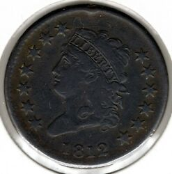 1812 Classic Head Large Cent S291 - Vf