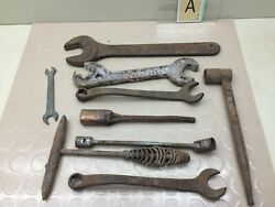 Vintage Lot Old Wrenches And Tools Tractor Plow Car Railroad Welding Man Cave