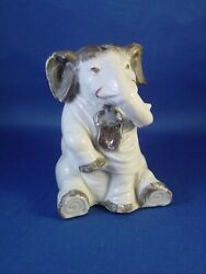 Early And Rare Antique Porcelain Elephant Still Coin Bank Money Box