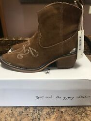 Spell & The Gypsy Collective Designs Cactus Rose Boots Brown Suede Size 38 NEW