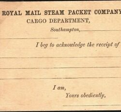 Gb Maritime Stationery Royal Mail Steam Packet Co Southampton Card 1870 M311