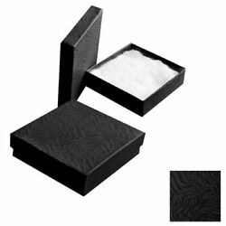 Swirl Black Cotton Filled Jewelry Packaging Gift Boxes Cardboard Box 100200500