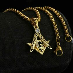 Cz G Free Mason Pendant Gold Stainless Steel Necklace Round Box Link Chain