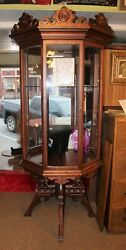 Eastlake Victorian Style Walnut Display Case Reproduction