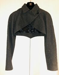 Alaia Paris Khaki Green Embroidered Cropped Wool Cashmere Blend Jacket