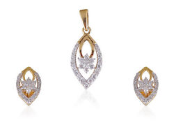 Pave 0.82 Cts Round Brilliant Cut Diamonds Pendant Earrings In 585 Fine 14k Gold