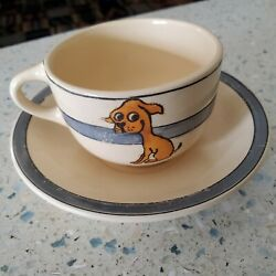 Vintage Dog Ceramic 1950s 6oz. Coffee Cup Saucer BIG FAWN PUPPY FOR DOG PEOPLE