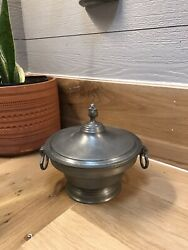 Rare Antique Pewter Bowl/w Lid D J Tudor Crowned Rose And Ore Angel Stamp 1800andrsquos