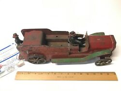 1920and039s Dayton Friction Toy Co. Pressed Steel 19 1/2 Toy Fire Truck W/drivers 2