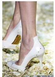 By Tom Ford Fall 2003 White Leather Studded Heels Shoes