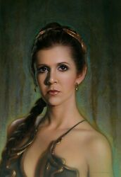 Carrie Fisher Slave Leia Amazingly Detailed Portrait Star Wars Fine Art Fearless