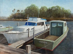 Original Framed Oil Painting And039tarpon Bayouand039 By Pennsylvania Artist David Young