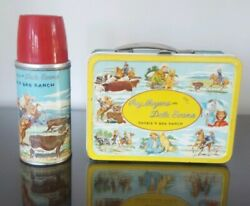 1955 Vintage Roy Rogers, Dale Evans Metal Lunch Box, Thermos Double R Bar Ranch