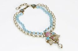 Miriam Haskell 1950's Blue Pink Glass Beads Pearls Collar Necklace