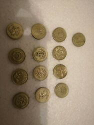 Very Rare Pound Coins .13 Andtimes Round Circulated Cancelled Pound Coin.13 Varieties