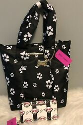 Betsey Johnson Puppy Dog Dalmatian Black White Paw Purse Tote & Wristlet Wallet $97.77