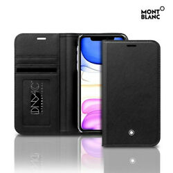 Genuine Montblanc Natural Leather Flip Wallet Cover Case for Apple iPhone 11