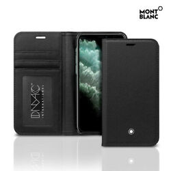 Genuine Montblanc Natural Calf Leather Flip Wallet Cover Case Apple iPhone 11Pro