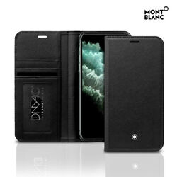 Genuine Montblanc Natural Leather Flip Wallet Cover Case Apple iPhone 11 Pro Max