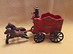 Vintage Cast Iron Horse Drawn Lion Circus Wagon W/2 Horses-over 90 Yrs Old