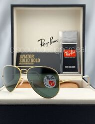 Ray Ban Aviator RB3025K Sunglasses 160N5 SOLID 18K Gold Green Polarized Lens 58