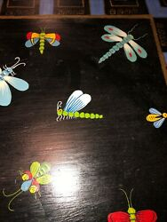 Vintage Wood Serving Tray Insects Dragonfly Bees Incredible Hand Painted Butler