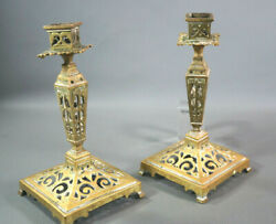 Pair 18th C.antique Bronze Knight Order Malta Candle Holders Ornate Candlestick