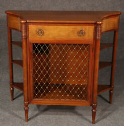 Great French Walnut Directoire Style Brass Grill Narrow Console Sofa Table C1950