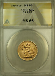1966 Great Britain Gold Sovereign Coin Anacs Ms-66 Gem Bu Unc A