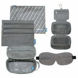 Flight 001 Cosmetic 4 Piece Travel Eyemask Toiletry Organizer Bag Set Gray NEW $27.00