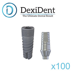 100x Dental Spiral Implant + Straight Shoulder Abutment Internal Hex 2.42 Ce/iso