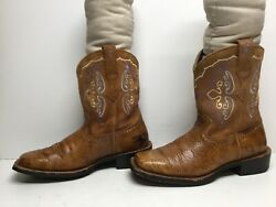 VTG WOMENS ARIAT FATBABY SQUARE TOE COWBOY DESIGN BROWN BOOTS SIZE 7.5 D?